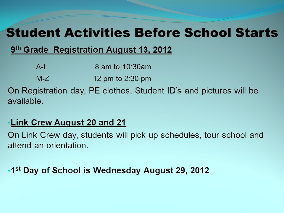Student Activities Before School Starts