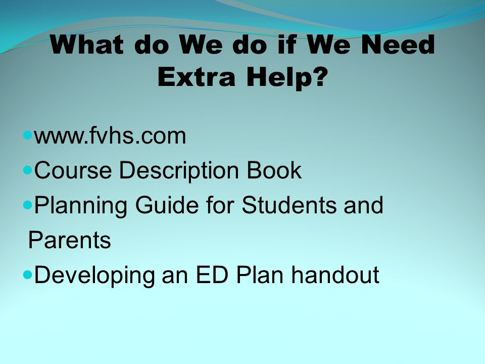 What do We do if We Need Extra Help