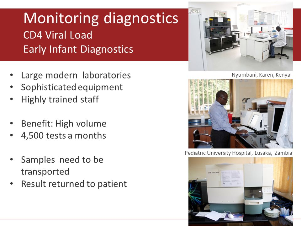 Monitoring diagnostics CD4 Viral Load Early Infant Diagnostics