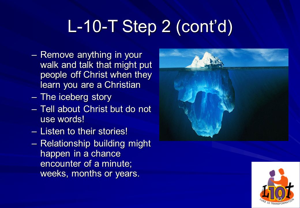 L-10-T Step 2 (cont'd) Remove anything in your walk and talk that might put people off Christ when they learn you are a Christian.