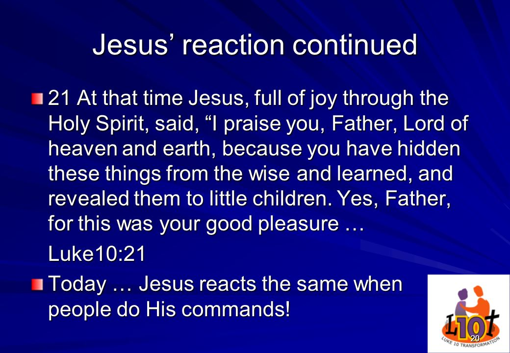 Jesus' reaction continued