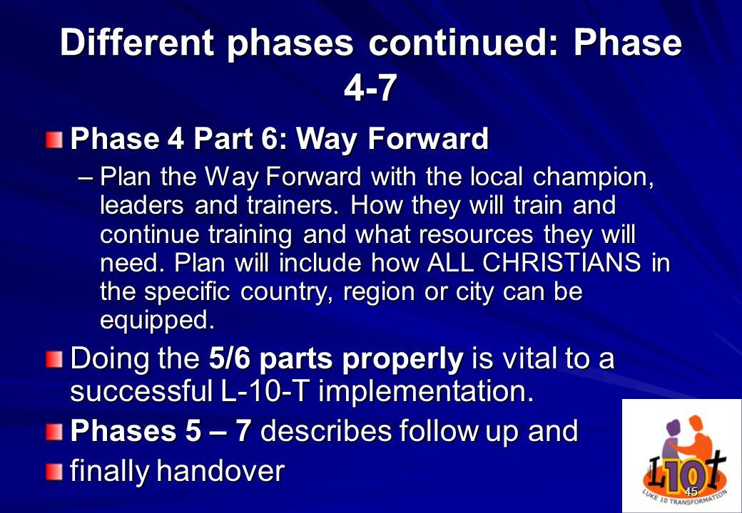 Different phases continued: Phase 4-7