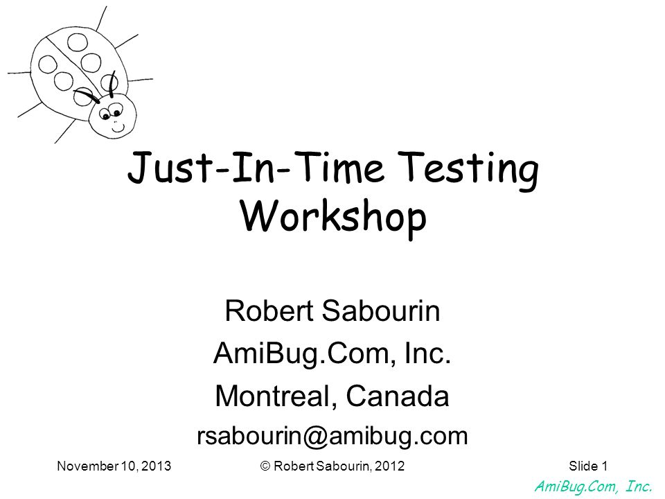 Just-In-Time Testing Workshop