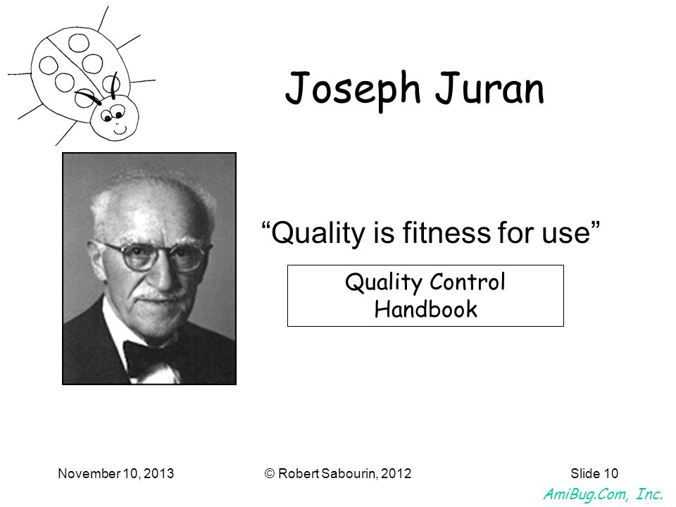 Joseph Juran Quality is fitness for use Quality Control Handbook