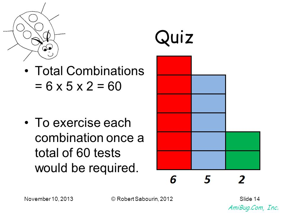 Quiz Total Combinations = 6 x 5 x 2 = 60
