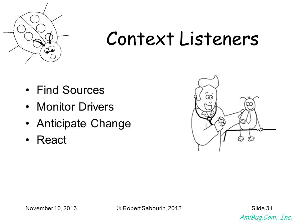 Context Listeners Find Sources Monitor Drivers Anticipate Change React
