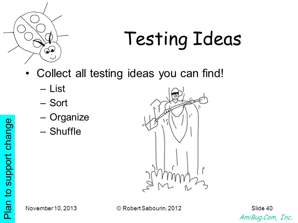 Testing Ideas Collect all testing ideas you can find! List Sort