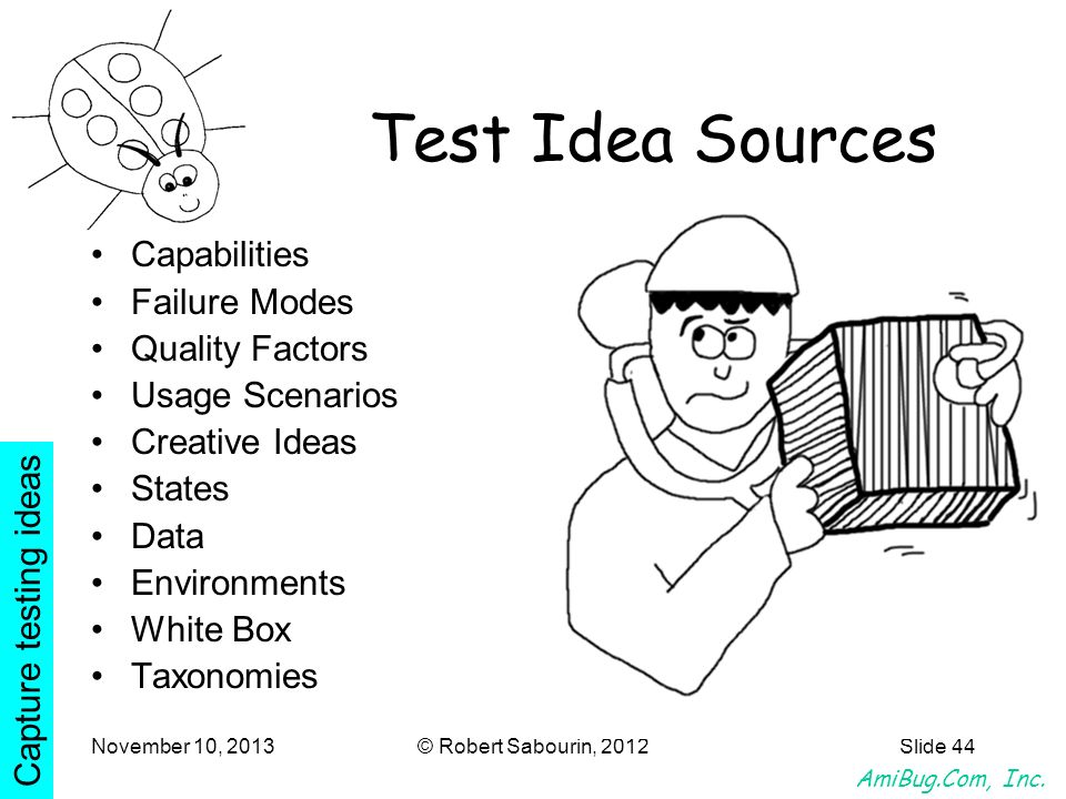 Test Idea Sources Capabilities Failure Modes Quality Factors