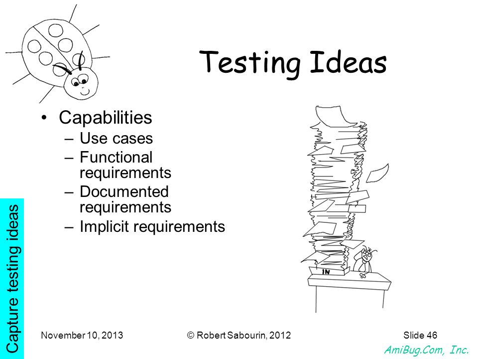 Testing Ideas Capabilities Use cases Functional requirements