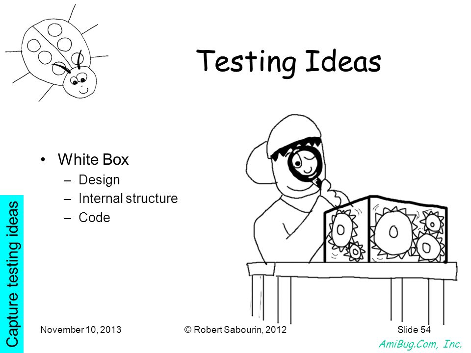 Testing Ideas White Box Capture testing ideas Design