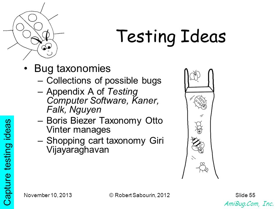 Testing Ideas Bug taxonomies Collections of possible bugs