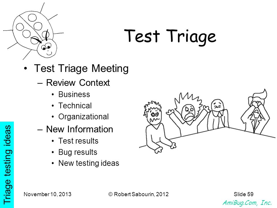 Test Triage Test Triage Meeting Review Context New Information