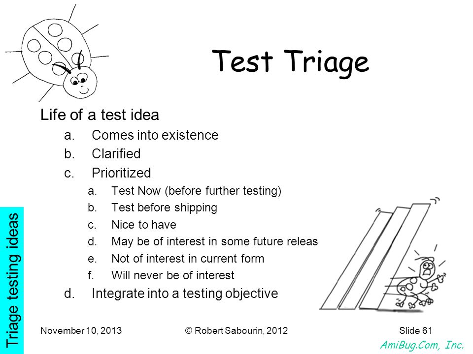 Test Triage Life of a test idea Triage testing ideas
