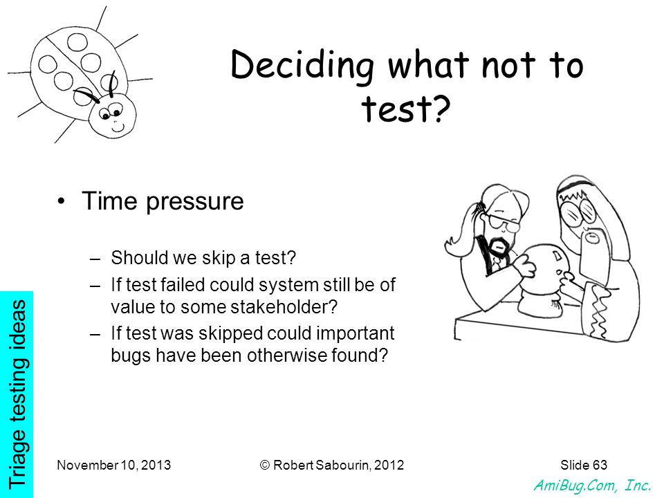 Deciding what not to test