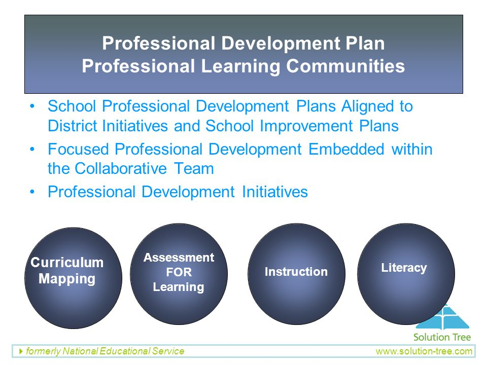 Professional Development Plan Professional Learning Communities