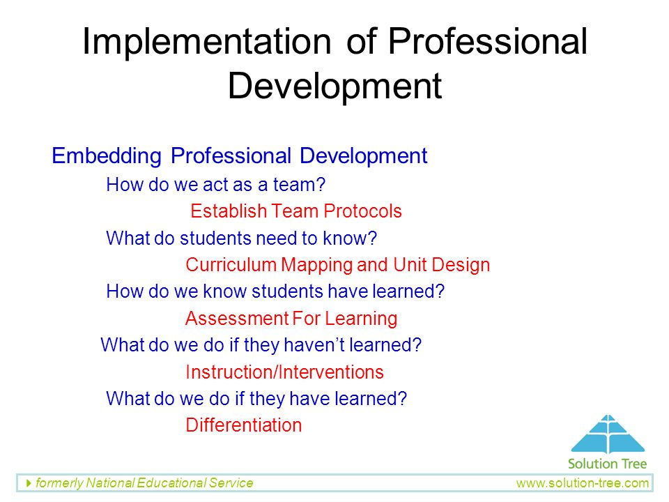 Implementation of Professional Development