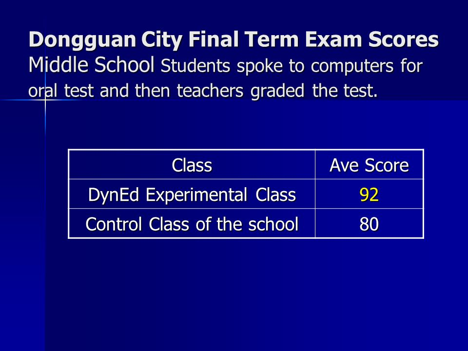 Dongguan City Final Term Exam Scores Middle School Students spoke to computers for oral test and then teachers graded the test.