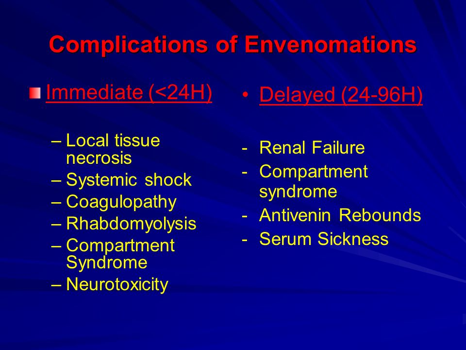 Complications of Envenomations