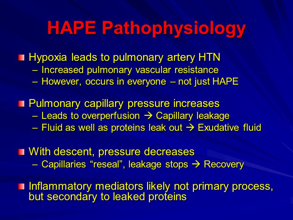 HAPE Pathophysiology Hypoxia leads to pulmonary artery HTN