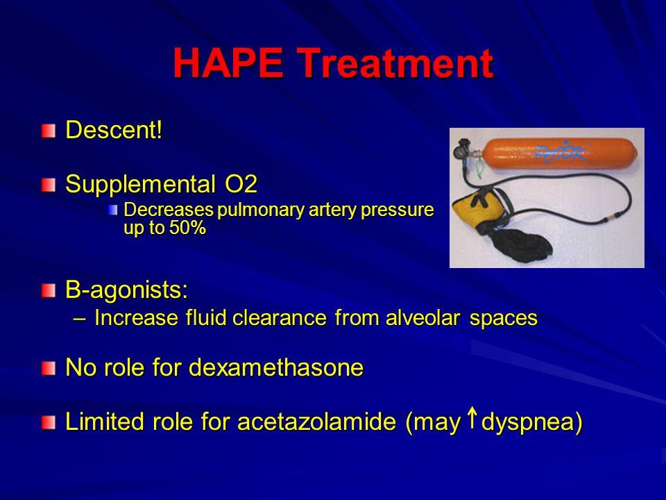 HAPE Treatment Descent! Supplemental O2 B-agonists: