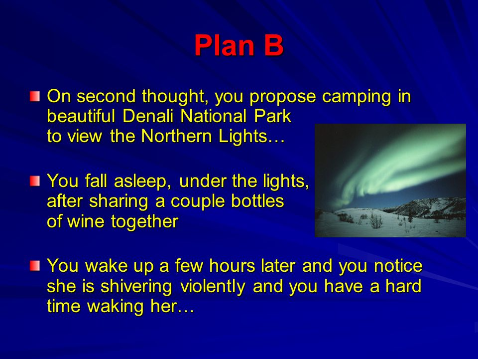 Plan B On second thought, you propose camping in beautiful Denali National Park to view the Northern Lights…