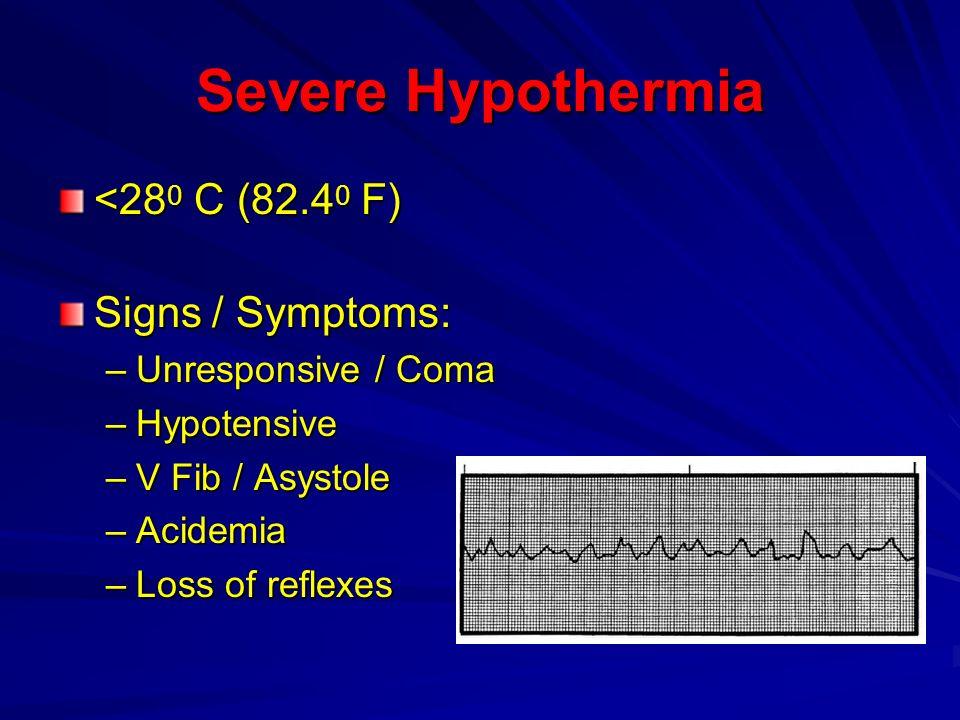 Severe Hypothermia <280 C (82.40 F) Signs / Symptoms: