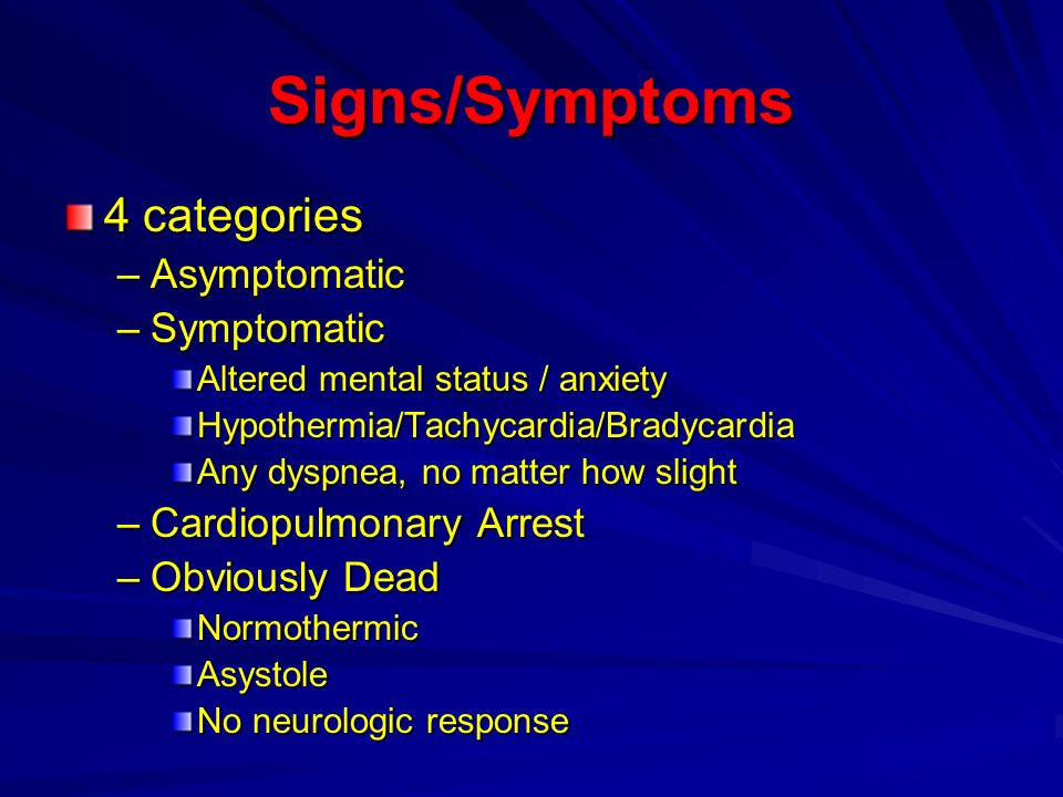 Signs/Symptoms 4 categories Asymptomatic Symptomatic