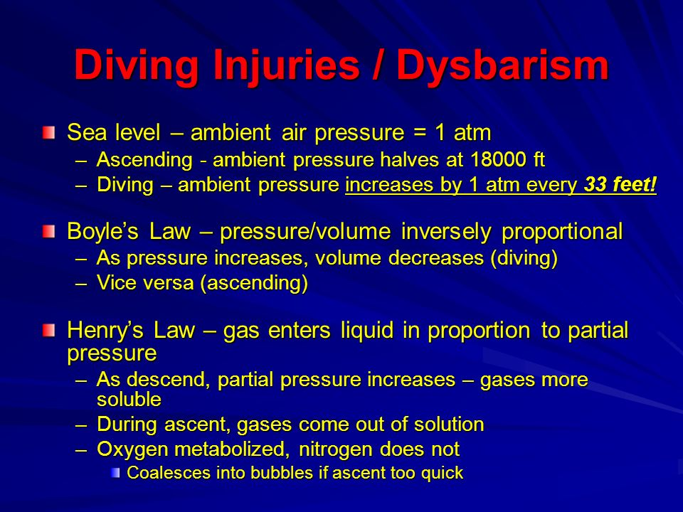 Diving Injuries / Dysbarism