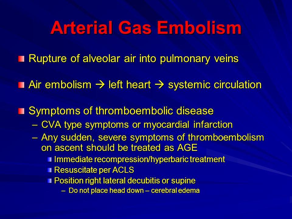 Arterial Gas Embolism Rupture of alveolar air into pulmonary veins