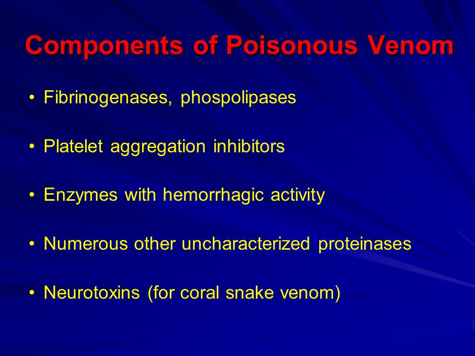 Components of Poisonous Venom