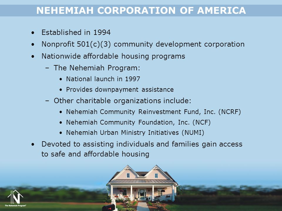 NEHEMIAH CORPORATION OF AMERICA