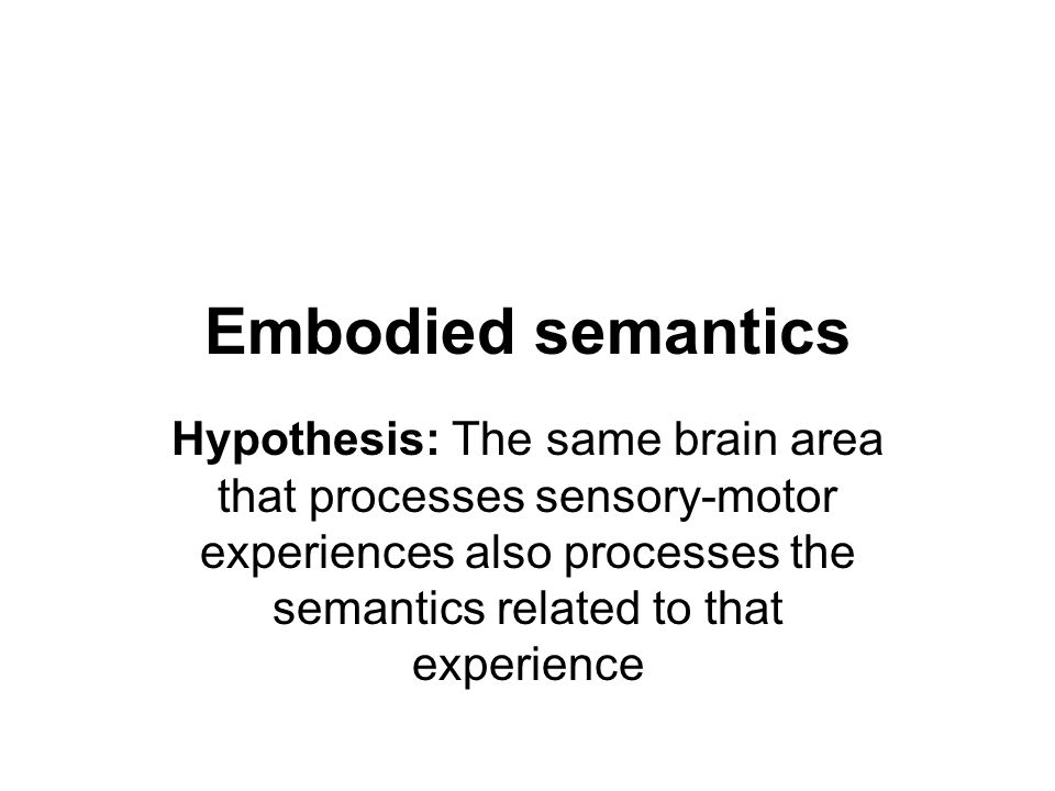 Embodied semantics Hypothesis: The same brain area that processes sensory-motor experiences also processes the semantics related to that experience.