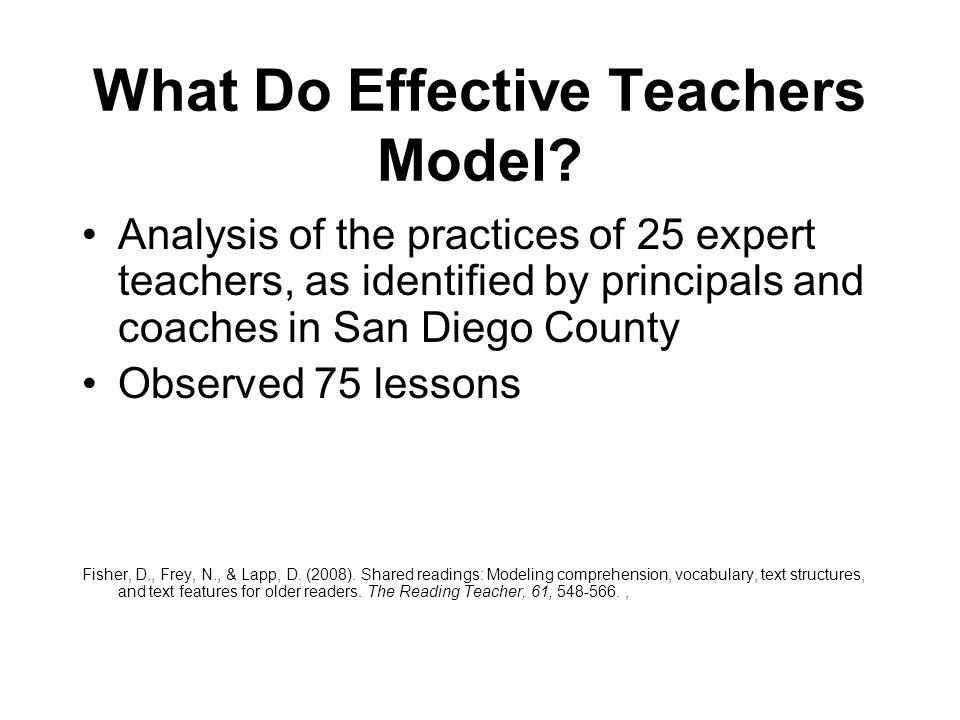 What Do Effective Teachers Model