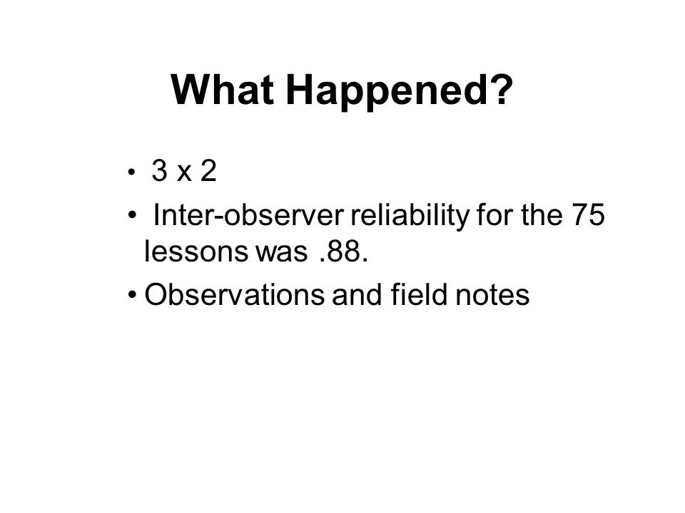 What Happened Inter-observer reliability for the 75 lessons was .88.