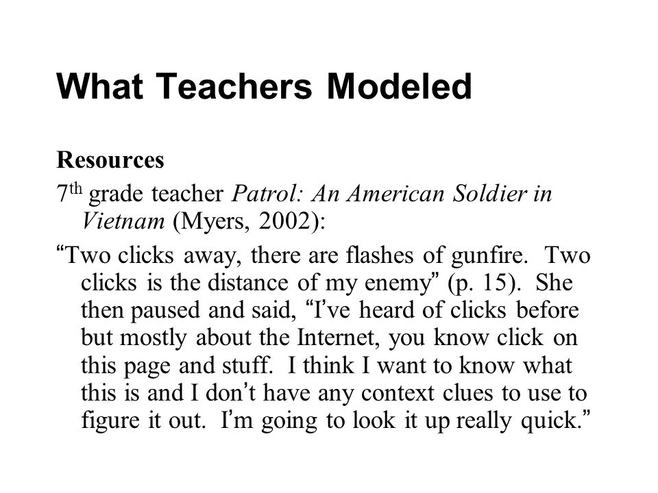 What Teachers Modeled Resources