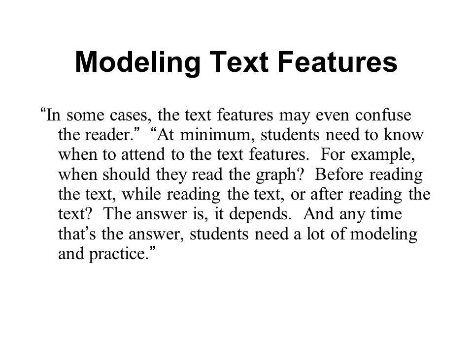 Modeling Text Features