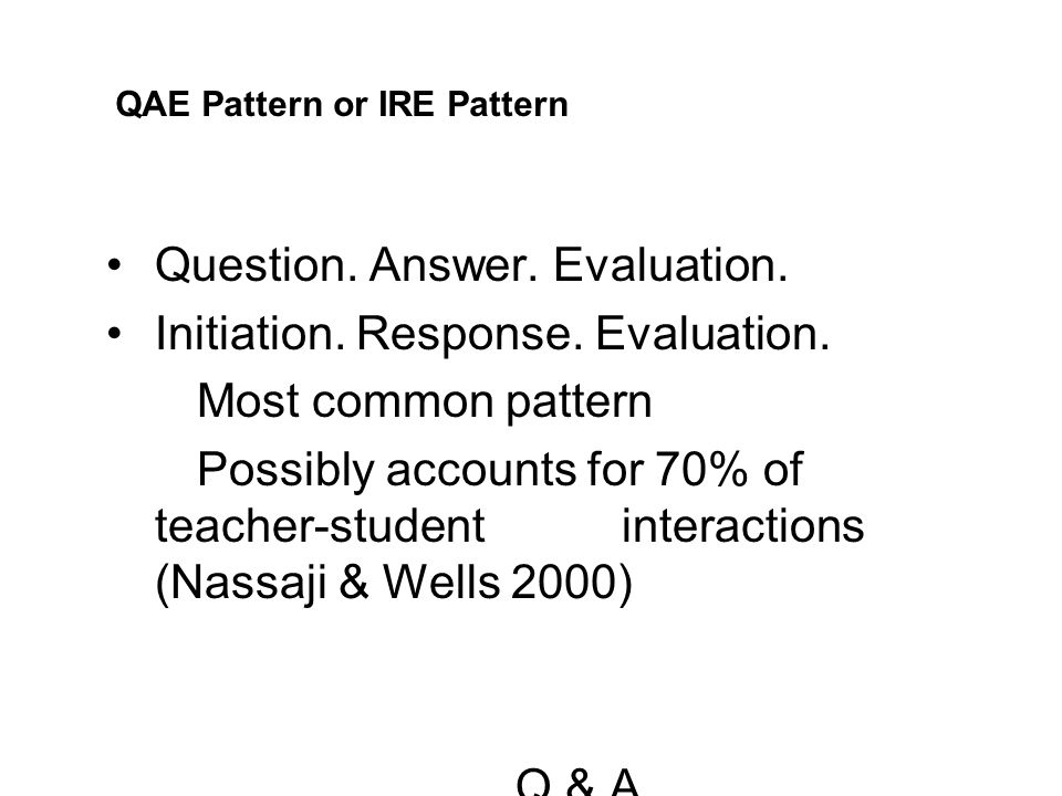 Question. Answer. Evaluation. Initiation. Response. Evaluation.