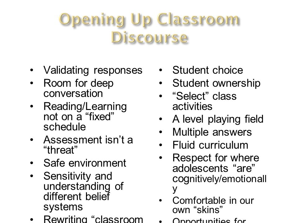 Room for deep conversation Reading/Learning not on a fixed schedule
