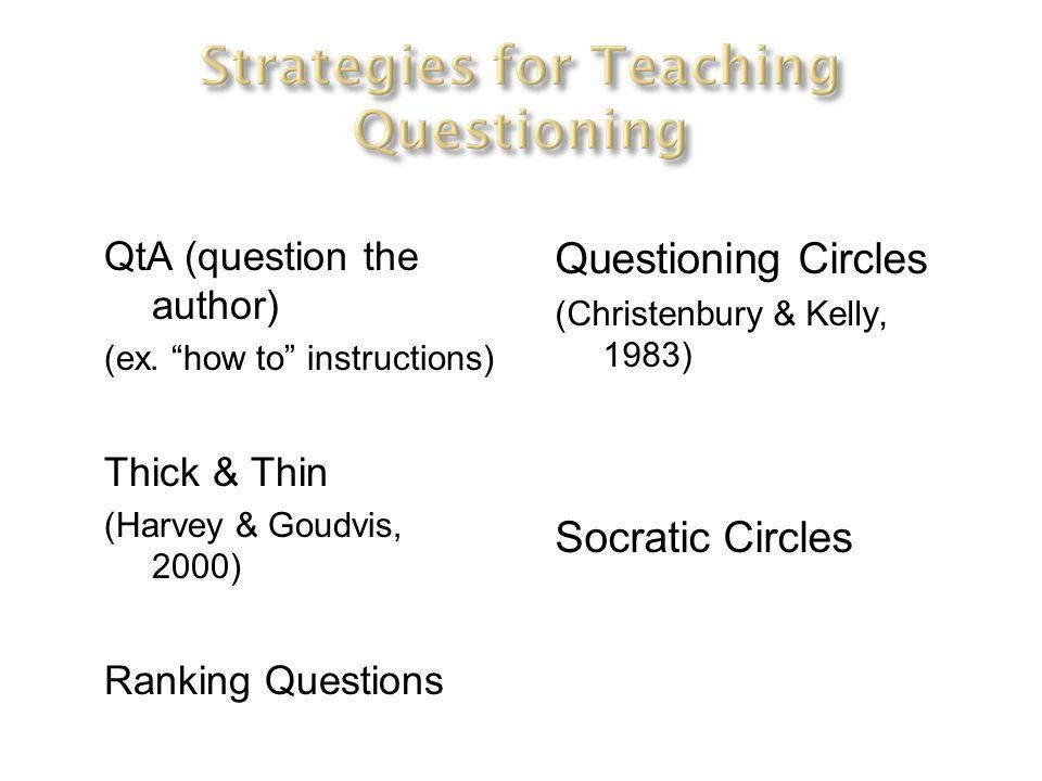 Questioning Circles Socratic Circles QtA (question the author)