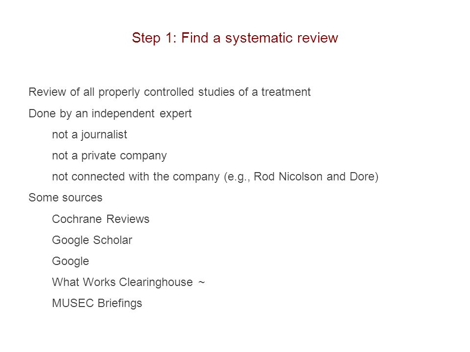Step 1: Find a systematic review