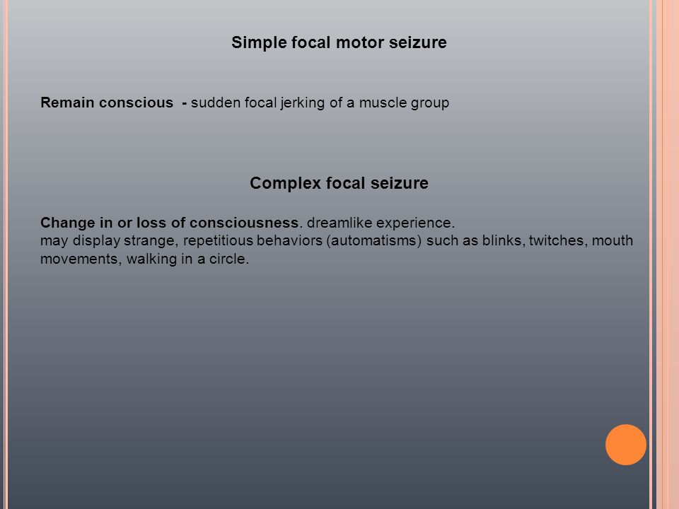 Simple focal motor seizure