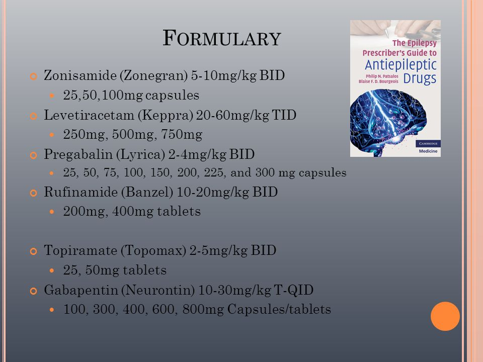 Formulary Zonisamide (Zonegran) 5-10mg/kg BID 25,50,100mg capsules