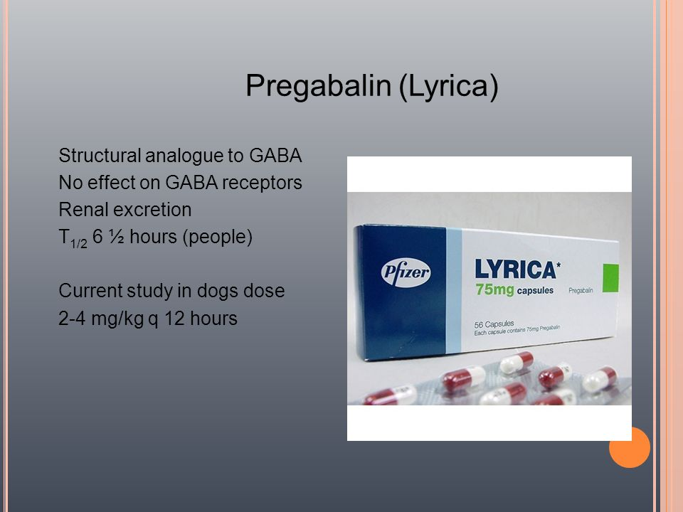 Pregabalin (Lyrica) Structural analogue to GABA