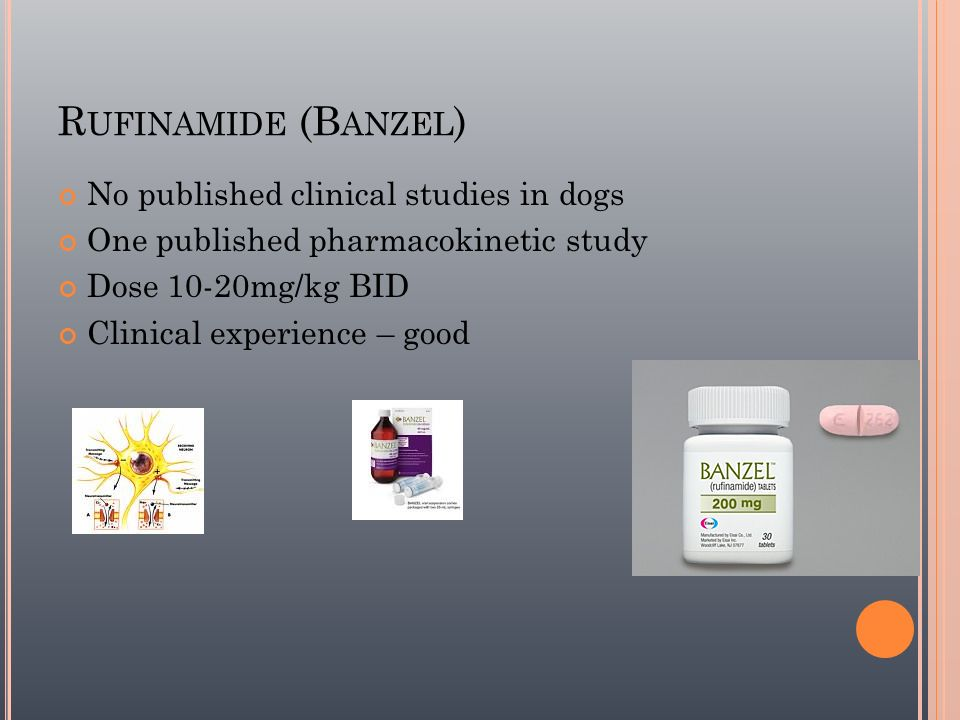 Rufinamide (Banzel) No published clinical studies in dogs