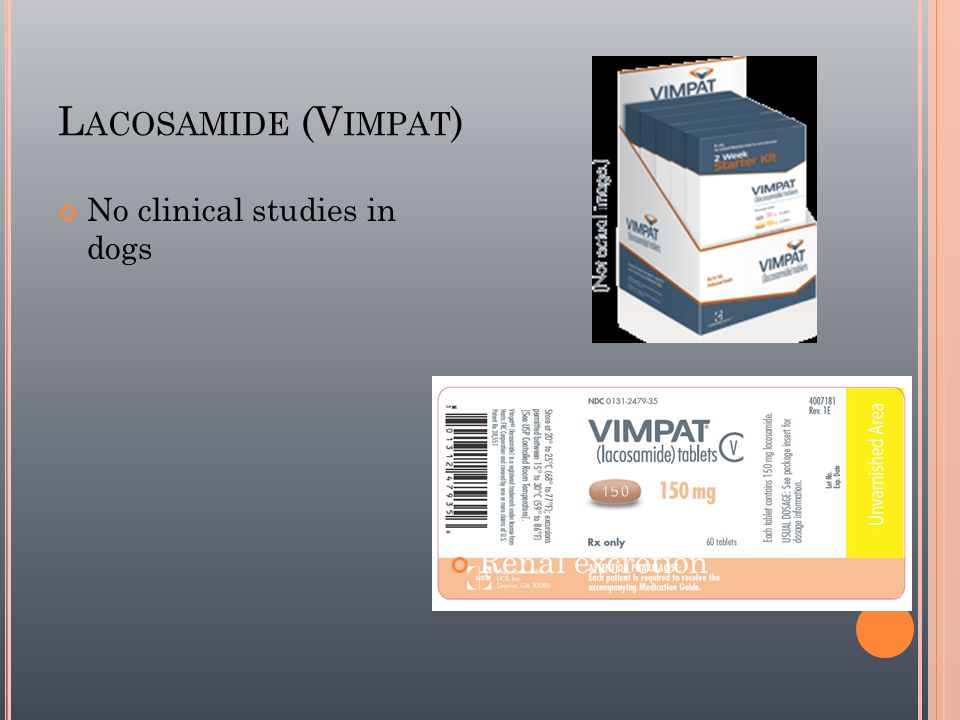 Lacosamide (Vimpat) No clinical studies in dogs Renal excretion 44