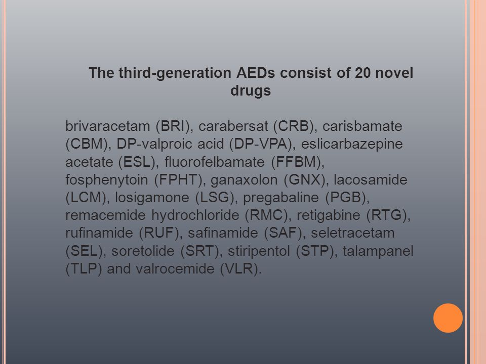 The third-generation AEDs consist of 20 novel drugs