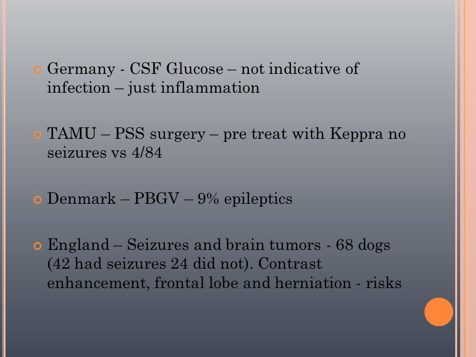 Germany - CSF Glucose – not indicative of infection – just inflammation