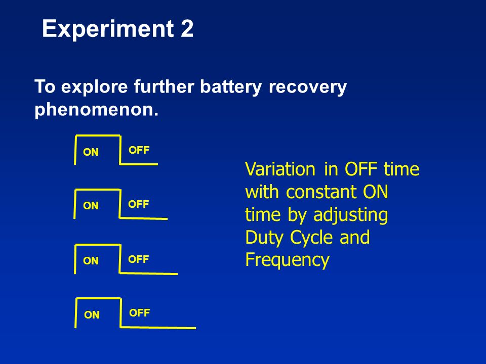 Experiment 2 To explore further battery recovery phenomenon.