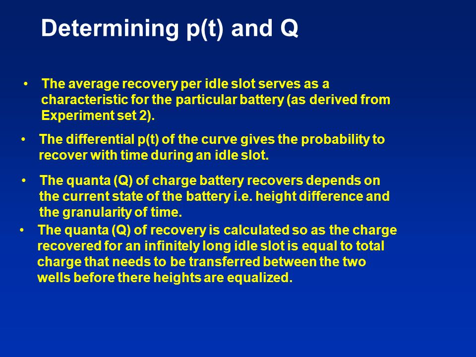 Determining p(t) and Q The average recovery per idle slot serves as a characteristic for the particular battery (as derived from Experiment set 2).
