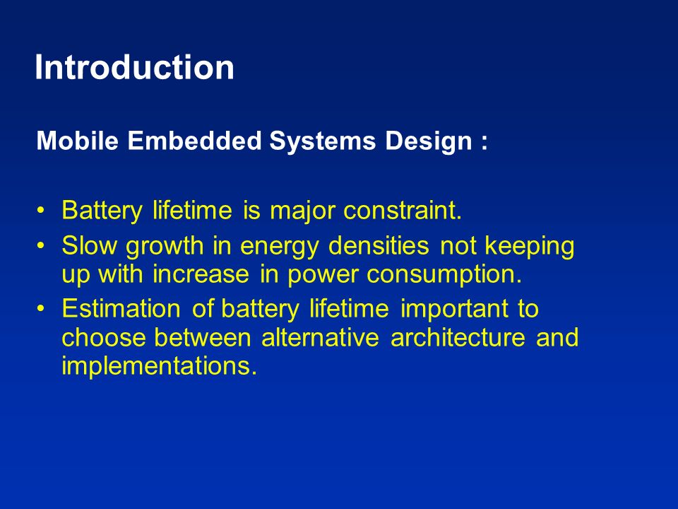 Introduction Mobile Embedded Systems Design :